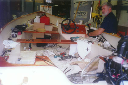Mike Megrew working on a dory
